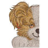 Half muzzle cute dog embroidery design