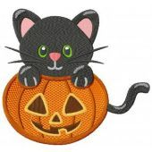 Halloween kitten machine embroidery design