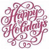 Happy holidays machine embroidery design