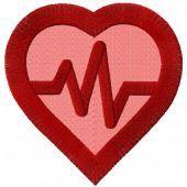 Heart cardio symbol embroidery design