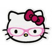 Hello Kitty world through glasses embroidery design