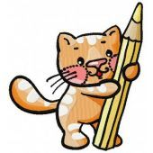 Kitten painter machine embroidery design