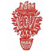 Love tree machine embroidery design