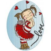 Loving girl embroidery design