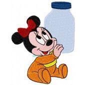 Mini Minnie with a bottle of milk machine embroidery design