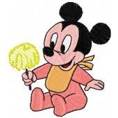 Minnie Mouse with ice cream machine embroidery design