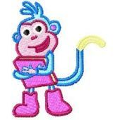 Monkey with Book embroidery design