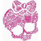 Monster High sketch logo machine embroidery design