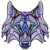 Mosaic wolf machine embroidery design