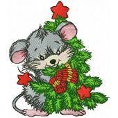 Mouse hugs Christmas tree embroidery design