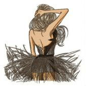 Mysterious dancer embroidery design