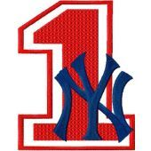 NY Yankees number one with logo machine embroidery design