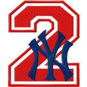 NY Yankees number two with logo machine embroidery design