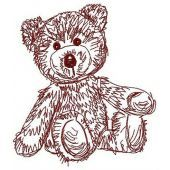 Old bear toy machine embroidery design