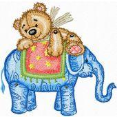 Teddy Bear and Elephant embroidery design