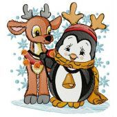 Penguin and deer embroidery design