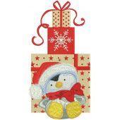 Penguin in Santa hat embroidery design