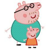 Peppa Pig with dad embroidery design