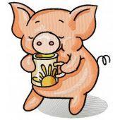 Piglet's tea time machine embroidery design