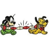 Pluto and Goofy playing harmonica machine embroidery design