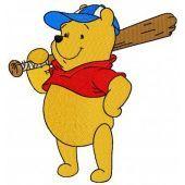 Pooh plays baseball machine embroidery design