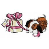 Presents for puppy machine embroidery design 3
