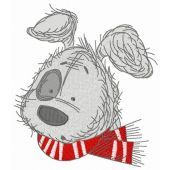 Puppy in red scarf embroidery design