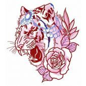 Raja's tiger with rose embroidery design