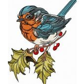 Robin on branch of holly embroidery design 3