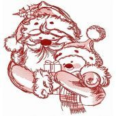 Santa and snowman embroidery design 4