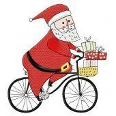 Santa cycling machine embroidery design 3