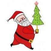 Santa with fir-tree machine embroidery design 3