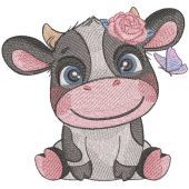 Smiling cow with butterfly embroidery design