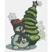 Snowman near fir tree machine embroidery design