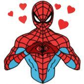Spiderman love embroidery design