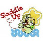 SpongeBob riding sea horse embroidery design