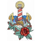 Striped lighthouse embroidery design 2