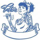 Modern tattoo girl embroidery design 2