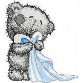 Teddy bear in the bathroom embroidery design