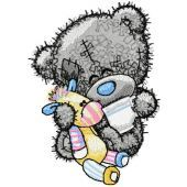 Teddy bear five o*clock tea embroidery design