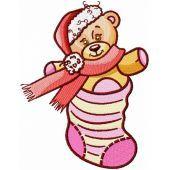 Teddy Bear in Christmas sock machine embroidery design