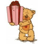 Teddy bear present for you machine embroidery design