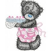 Teddy Bear making cupcakes embroidery design