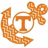 Tennessee vols anchor monogram embroidery design