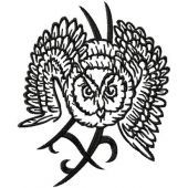 Tribal Owl machine embroidery design