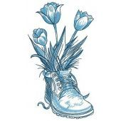 Tulips in boot embroidery design