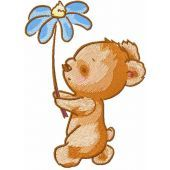 Walking Teddy with flower machine embroidery design