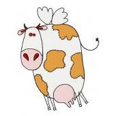 Winged cow machine embroidery design 2