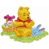 Winnie Pooh and Easter Bunny embroidery design