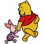 Winnie the Pooh and Piglet best friends embroidery design 2